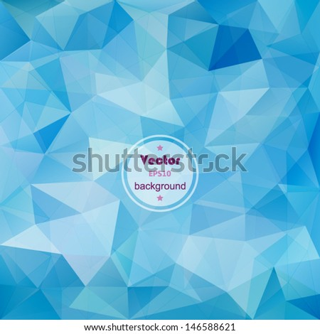 Blue geometric pattern, triangles background, polygonal design. EPS10 vector illustration. - stock vector