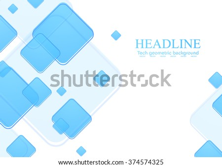 Blue geometric squares on white background. Vector tech illustration template design - stock vector