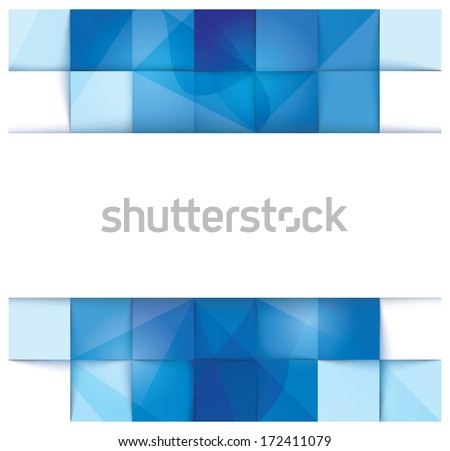 Blue geometrical abstract banner template with a stripe for input in the middle - stock vector