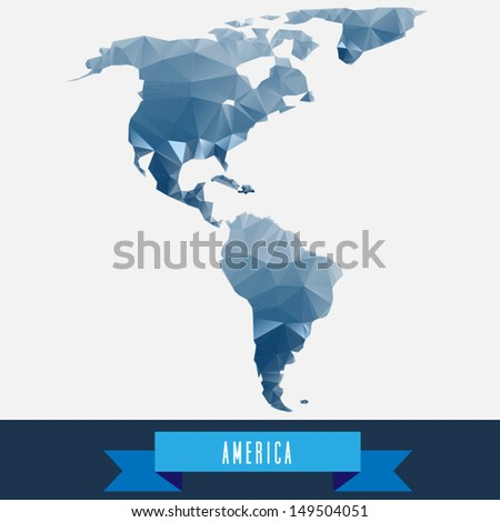 blue geometrical stylized america map - stock vector