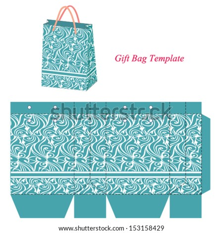 Blue gift bag template with seamless pattern. Vector illustration. - stock vector