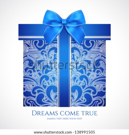 Blue gift box with floral pattern (scroll) and bow (ribbon). Vector celebration symbol (present) for (St' Valentin day, Mother's day, Christmas and other holidays). Background design for greeting card - stock vector
