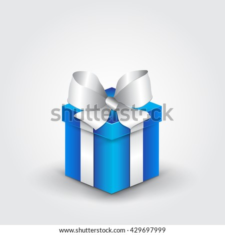 Blue gift box with white ribbon. Vector illustration