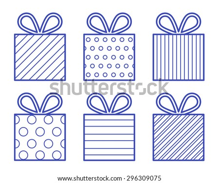 Blue gift boxes illustration - stock vector