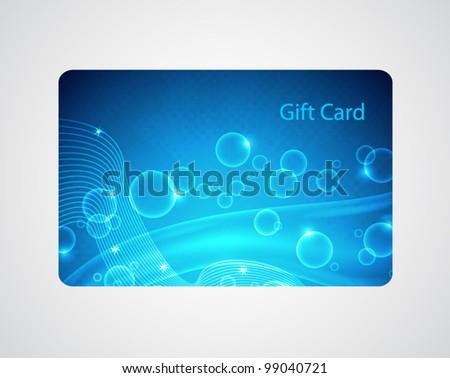 Blue gift card - stock vector