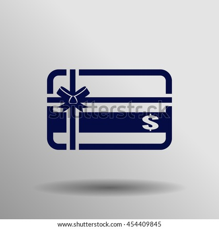 Blue Gift card Icon on a gray background - stock vector