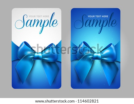 Blue gift cards with bow - stock vector
