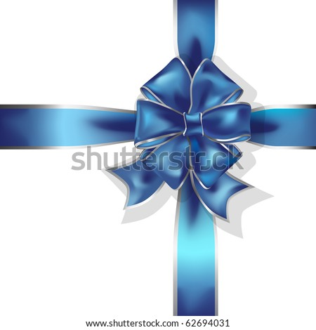 blue gift ribbon and bow vector object - stock vector