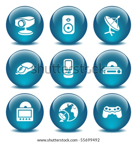 Blue glass ball 21 - stock vector