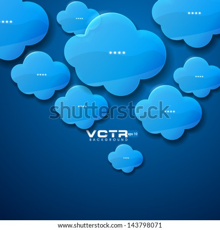 Blue Glass Clouds Modern Background