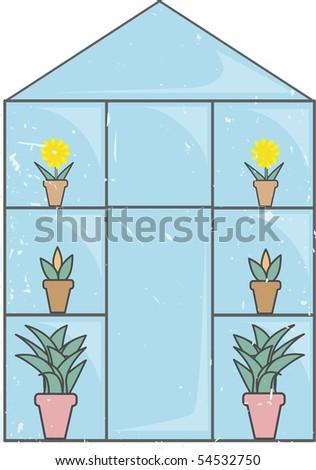 Blue Glass Greenhouse light grunge editable vector illustration - stock vector