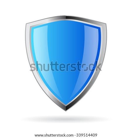 Blue glass shield icon - stock vector