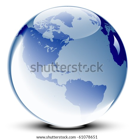 Blue glass world globe with glossy reflections - stock vector