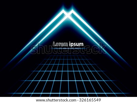 Blue glitter abstract futuristic perspective background with simple arrow logo. Vector illustration - stock vector