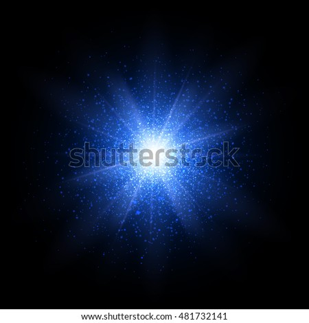 Blue glitter particles background effect. Sparkling texture. Star dust sparks in explosion on black background. Vector Illustration