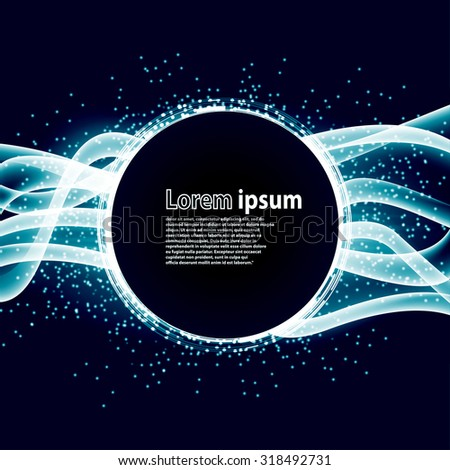 Blue glitter party poster abstract layout with circle surrounded by flare shimmering particle luxurious pattern. Vector illustration - stock vector
