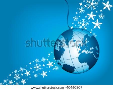 Blue globe ball on snowflakes. Vector greeting card. - stock vector