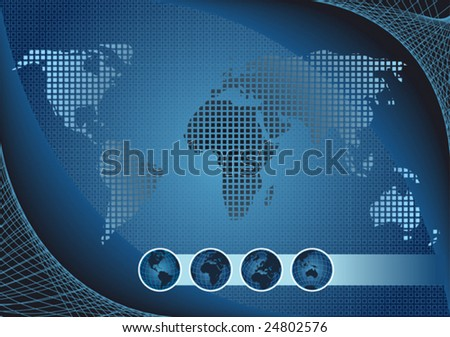 Blue globe kit and map, vector background. - stock vector