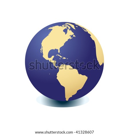 Blue globe kit, vector background. Items are placed on separate layers and editable. - stock vector