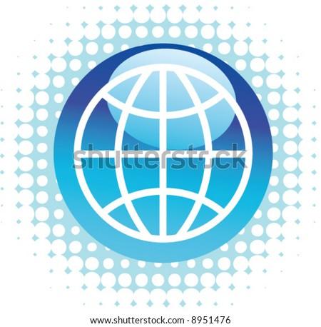 Blue Globe on dot background - stock vector
