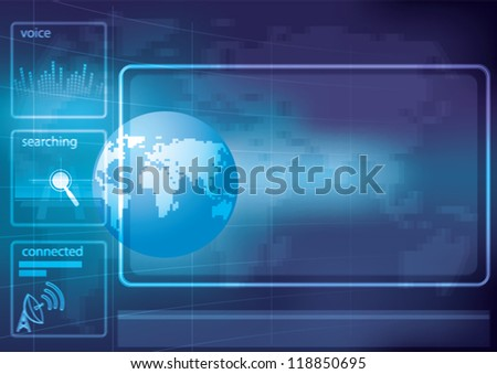 Blue globe on the digital technology background - stock vector