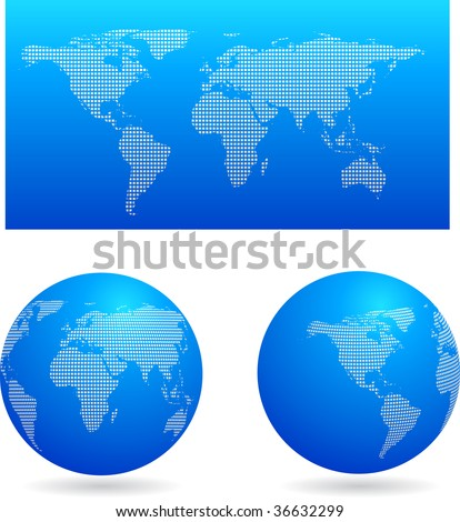 Blue globe set and map, vector - stock vector