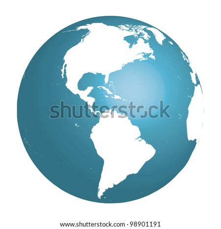 Blue globe showing South and North America. Vector 3d - stock vector