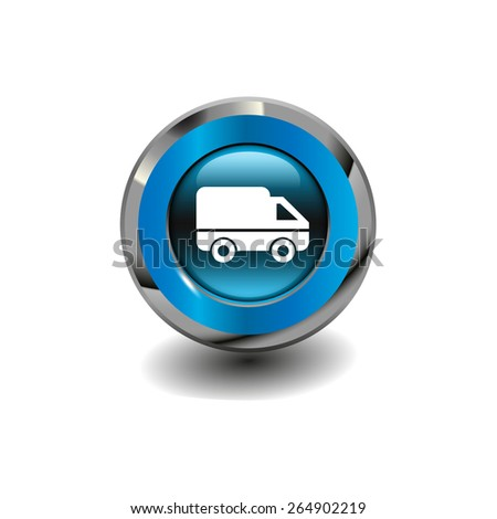 Blue glossy button with metallic elements and white icon car (delivery), vector design for website - stock vector
