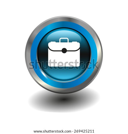 Blue glossy button with metallic elements and white icon case, vector design for website - stock vector