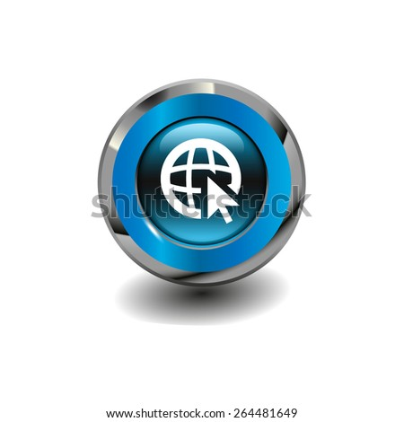 Blue glossy button with metallic elements and white icon  globe (go to web), vector design for website - stock vector