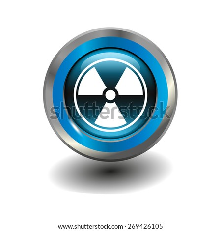 Blue glossy button with metallic elements and white icon radiation, vector design for website - stock vector