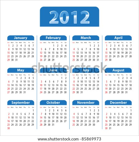 Blue glossy calendar for 2012. Sundays first. Vector illustration - stock vector