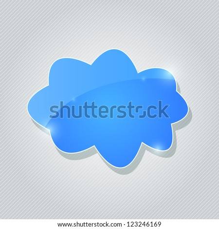 Blue Glossy Cloud Icon with Sparkles on Grey Background. Vector Illustration - stock vector