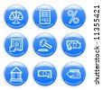 Blue glossy finance icons set. Vector. - stock vector