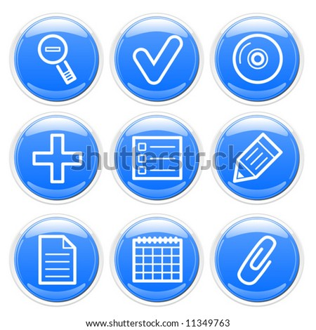 Blue glossy finance icons set. Vector.