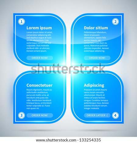 Blue glossy flower made of 4 modern banners. - stock vector