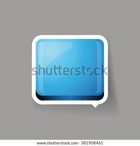 Blue glossy square 3d plastic speech bubble vector - stock vector