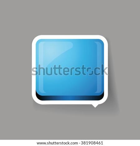 Blue glossy square 3d plastic speech bubble vector - stock vector