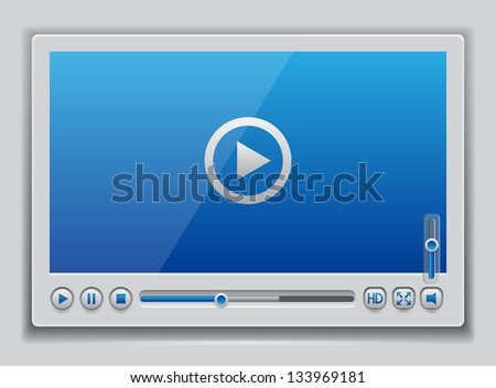 Blue glossy video player template , vector eps10 illustration - stock vector