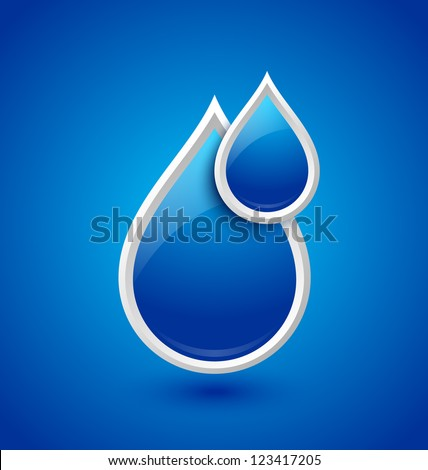 Blue glossy water drops icon isolated on background - stock vector