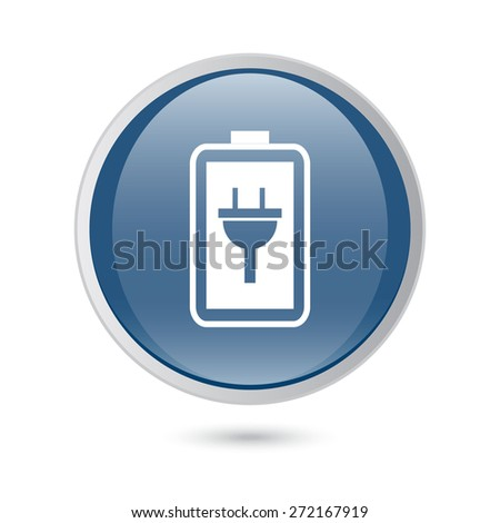 blue glossy web icon. Simple battery icon. Battery charge icon. - stock vector