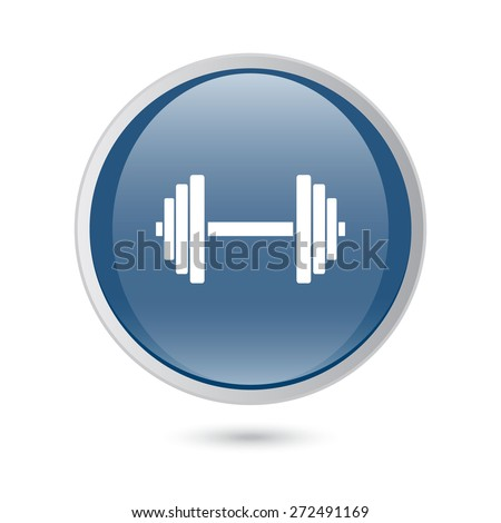 blue glossy web icon. Sports gym equipment. Dumbbell.  - stock vector