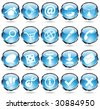 blue glossy web icons with metallic frames - stock vector