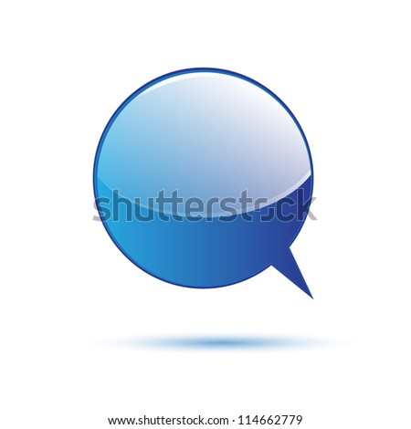 Blue glossy word speech isolated on white