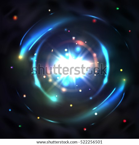 Blue glow light, vector circle swirl vortex, abstract circular effect illustration