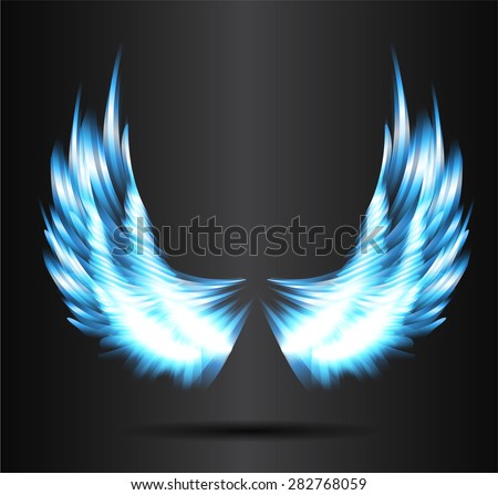 blue glowing, stylized angel wings on a black background. vector - stock vector