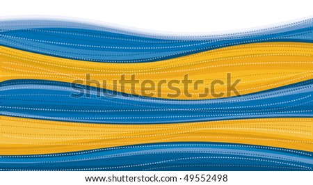 Blue & Gold Swirl Background - stock vector