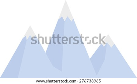 Blue graphic mountains with snow - stock vector