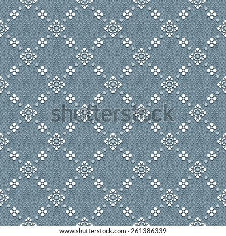 Blue-gray vintage seamless classic pattern with floral and dotted ornament on a delicate lace background - stock vector