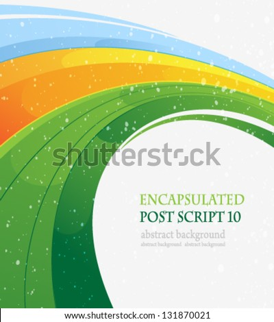 Blue green and yellow concentric abstract background - stock vector